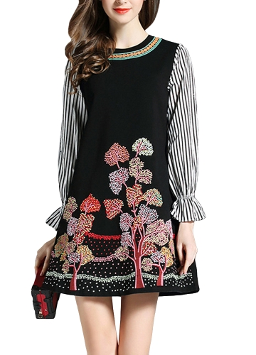 Vintage Women Mini Dress Floral Haft w paski z długim rękawem Slim Elegant Ladies Dress Black