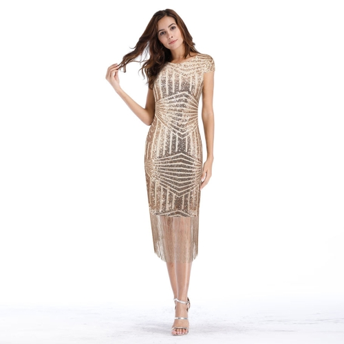 Mode Frauen Pailletten Kleid Quasten Fransen Sekt Sparkling Schlank Bodycon Club Party Kleid Champagne