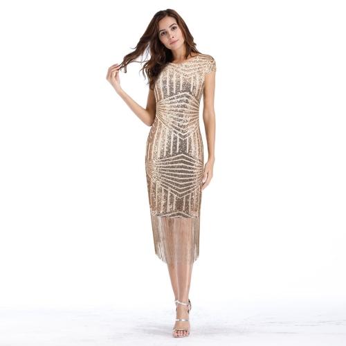 Moda Donna Paillettes Abito Nappe con frange Hem scintillanti Slim Bodycon Club Party Dress Champange