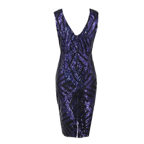 Vestido de fiesta de lentejuelas geométricas sin mangas geométricas sin mangas brillante partido Bodycon Club vestido azul