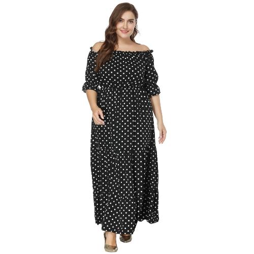 Nowa damska Plus rozmiar Off the Shoulder Dress Polka Dot Print Pół rękawy w pasie Boho Maxi długie sukienki