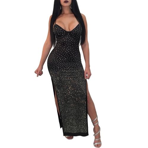 Seksowne kobiety ubierają Nit Zdobią Spaghetti patka Wysoki rozszczepiony osobistości wieczór przyjęcia Długa suknia Czerń