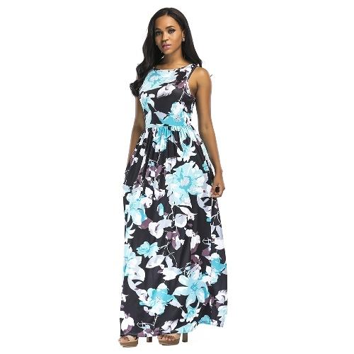 Vestito lungo da donna Lungo estivo Vestito floreale senza maniche con stampa floreale Boho Vestito da sera da sera