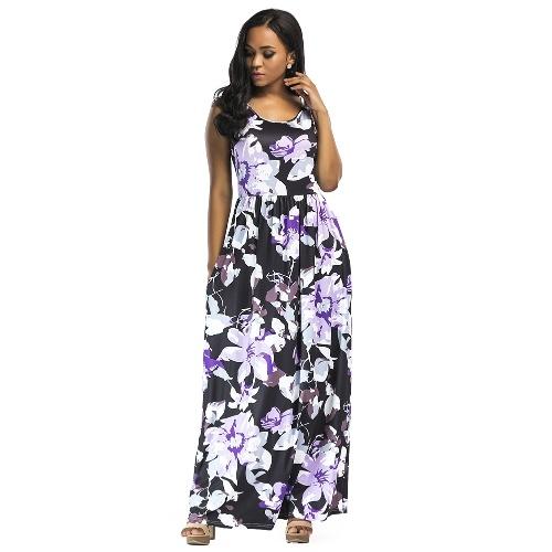 TOMTOP / Women Summer Long Maxi Dress Floral Print Sleeveless Boho Beach Dress Evening Party Sundress Vestidos