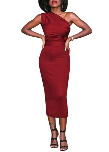 New Sexy Women Bodycon Midi Dress One Shoulder High Waist Sleeveless Party Clubwear Dress