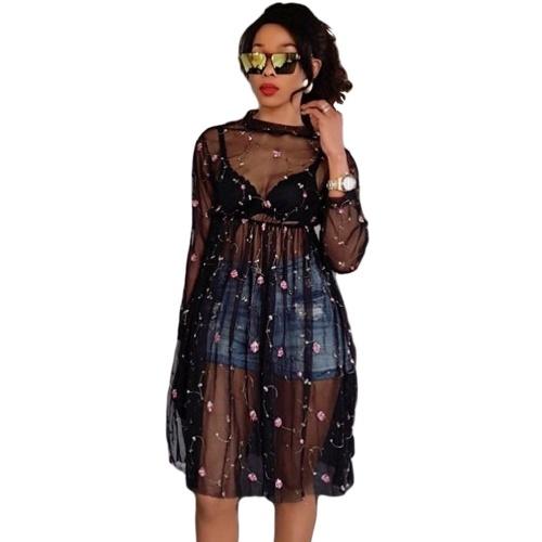 Sexy Women Sheer Mesh Dress Цветочная вышивка Посмотреть с длинным рукавом Линия платья Клубная одежда