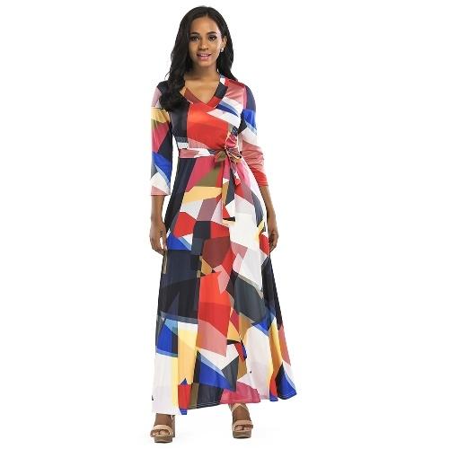 Vestito lungo da donna Maxi abito color block 3/4 manica Boho Beach Dress Evening Party Vestit