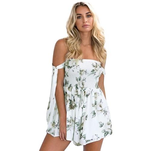 Sexy Backless Stampa floreale Tuta a spalla Off Elastico Coulisse elastica Playsuit Beach Party Salopette corta Bianco / Blu