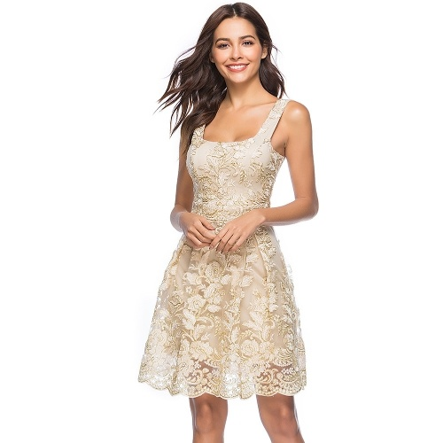 Women Sexy Dress Floral Embroidery Spaghetti Strap Summer Casual Vintage Party A-line Dress Clubwear Beige