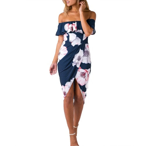 Sexy Women Boho Off Shoulder Dress Ruffles Floral Print Asymmetric Ruched Split Summer Beach Holiday Dress Branco / Azul / Verde