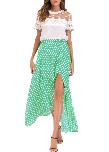 Vintage Women High Waist Polka Dot Maxi Платье с боковым разрезом Асимметричная летняя ретро-длинная юбка фото