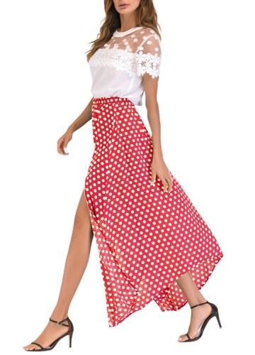 Vintage Frauen hohe Taille Polka Dot Maxi Kleid Seitenschlitz asymmetrischen Hem Sommer Retro langen Rock
