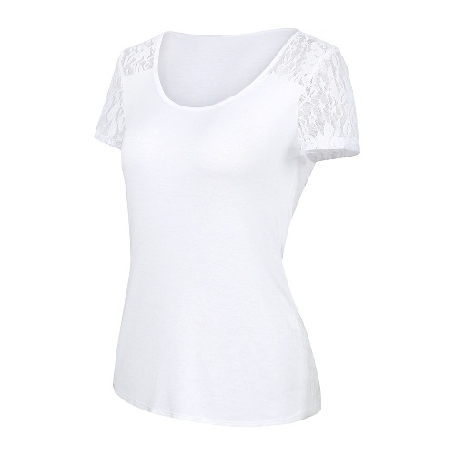 Women Summer Casual Solid T-shirt Lace Up Trim Round Neck Short Sleeve Tees Top