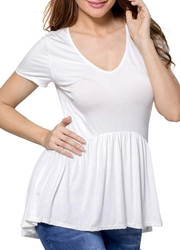Women Casual Solid T-shirt Ruffle Round Neck Short Sleeve Summer Large Size Tees Top Loose Blouse