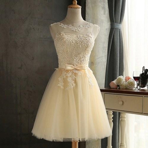 Платье для подружки невесты для женщин с вышивкой из сетки Tulle Slim Elegant Wedding Formal Dress