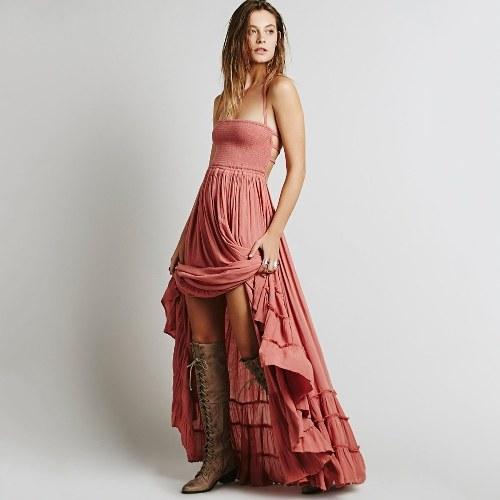 Vestito lungo da donna Boho Maxi Dress Halter Bandage Backless Solid plissettato da spiaggia