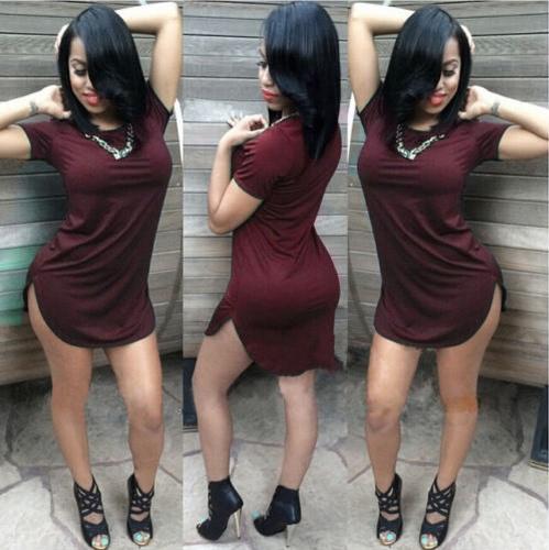 Moda mujeres tapas largas manga corta lado rendija Casual camiseta vestido