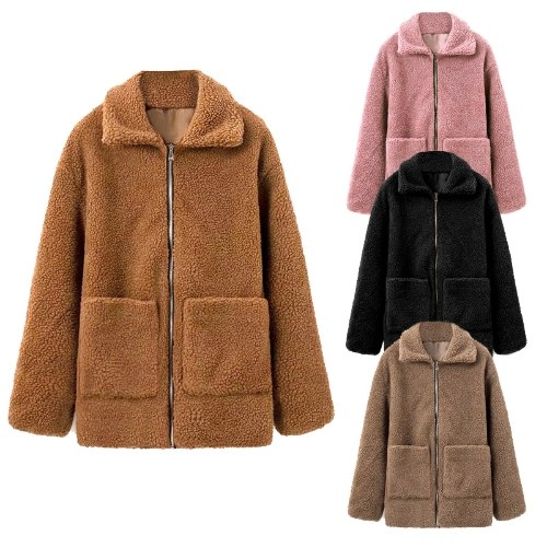 TOMTOP / Mulheres de Inverno Faux Fur Coat Cor Sólida