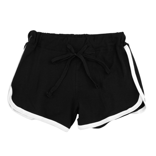 Moda Mulheres Sports Shorts Contraste Binding Side Split Elastic Waist Yoga Shorts