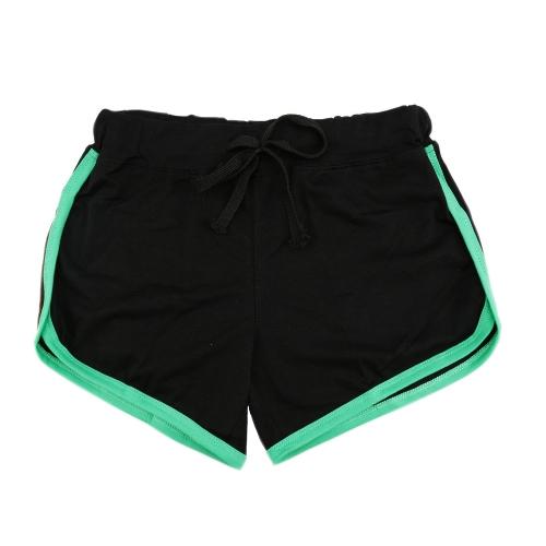 Pantalones cortos de las mujeres de los deportes de la moda Pantalones cortos de la yoga elásticos de la cintura elástica de la parte posterior del contraste que relacionan
