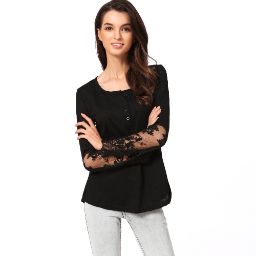 Casual Mulheres Blusa Stitching Lace Mesh Splicing T-Shirt Camisa de manga comprida Slim Leisure Top Black