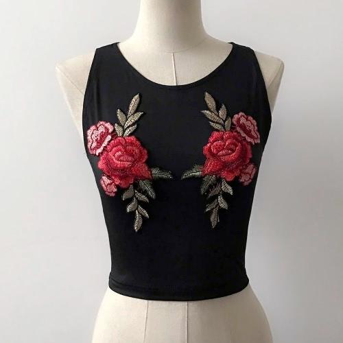 Sexy Vest Floral Bordado O-cuello sin mangas Mujeres Top de la cosecha