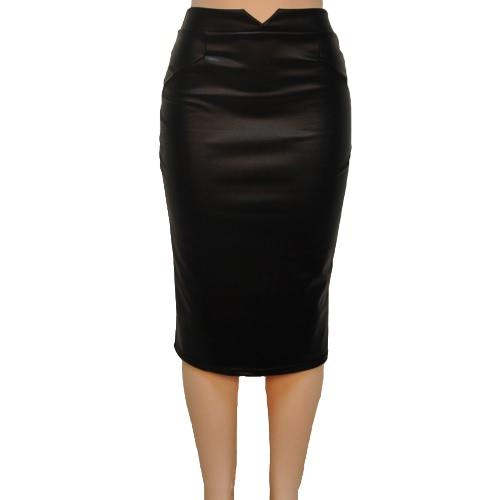 Mujeres Sexy de Europa PU cuero Color sólido Midi lápiz faldas OL Casual delgado Clubwear negro de la falda