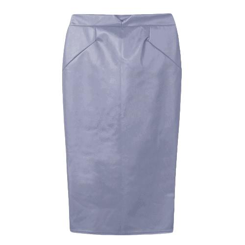 Europa atractiva de las mujeres de la falda del cuero de la PU del color sólido del Mediodía faldas del lápiz OL delgado ocasional de Clubwear Negro