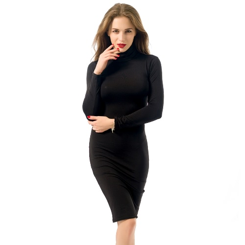 Europa Sexy Frauen Kleid Rollkragen Langarm Warm Midi Kleid Bandage Bodycon Party Clubwear