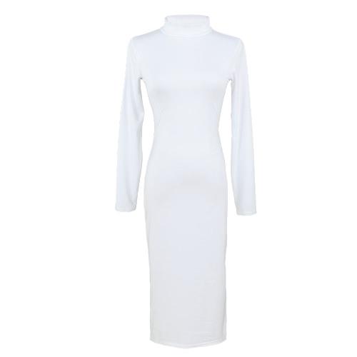 Mujeres Sexy de Europa Vestido de cuello alto manga larga caliente Midi vestido vendaje Bodycon partido Clubwear