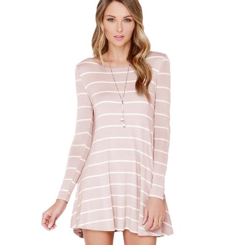 Mode Frauen gestreiften Kleid Kontrast Streifen Runde Hals V zurück Langarm Minikleid weiß/rosa