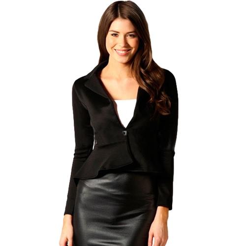 Nuova moda donna Blazer pulsante anteriore manica lunga orlo irregolare giacca corta Slim cappotto capispalla