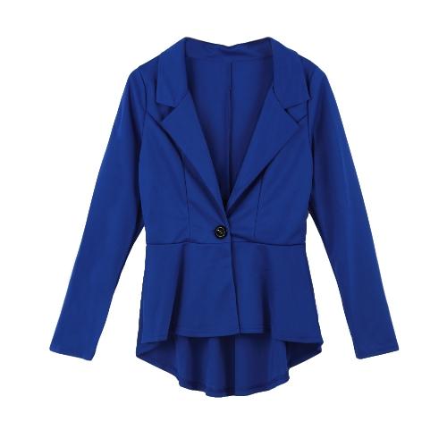 Nueva moda mujer Blazer botón frente manga larga Irregular dobladillo Slim chaqueta corta Abrigos Coat