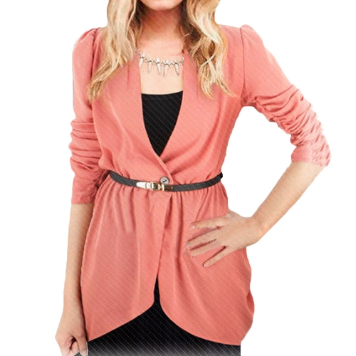 Women One Button Elastic Waist Long Sleeve Blazer Jacket Coat Watermelon Red/Green