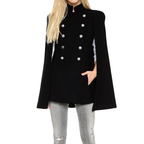 No inverno de Nova mulheres cabo capa dupla Breasted bainha Irregular bolsos laterais sem mangas Outwear casaco preto