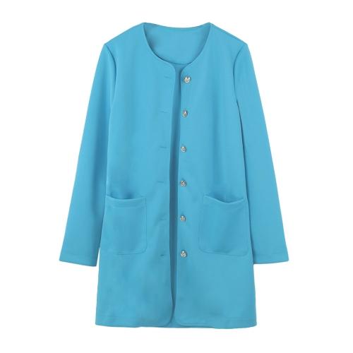 Новые женщины слой однобортный карманы длинные конфеты цветные пальто пиджак пиджак верхняя одежда фото