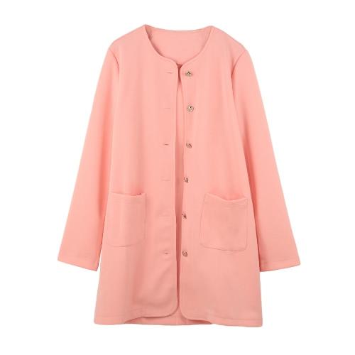 Nueva mujer capa de bolsas de un solo pecho de manga larga color caramelo abrigo chaqueta chaquetas