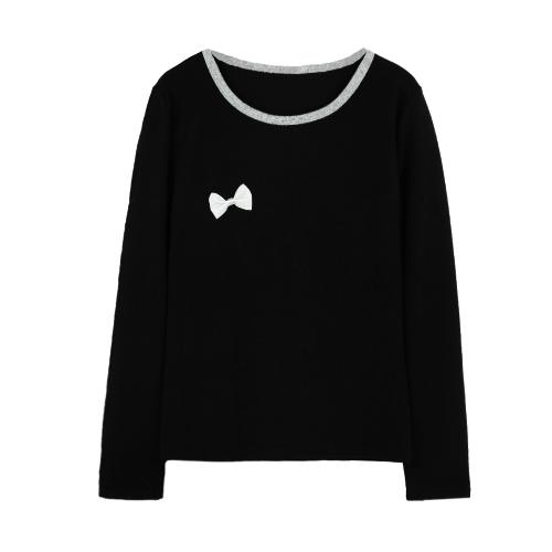 Europa nuevo mujeres chica blusa Bowknot O cuello jersey camiseta ocasional Camisera Tee Streetwear gris/negro