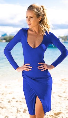 Sexy Sretch Plunge V Side Neck Ruching Slim Jednorazowa Sukienka