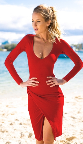 Nueva moda mujer vestido Sretch penetración V cuello lado Split volante Slim Fit Sexy una pieza rojo azul café