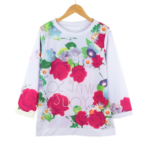 Chic Ombre Floral Printe O-Neck Three Quarter Sleeve Blouse for Women