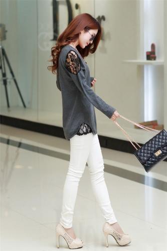Mulheres moda blusa laço oco para fora da bainha Irregular manga longa camisa Base O-garganta Tops preto/escuro cinza
