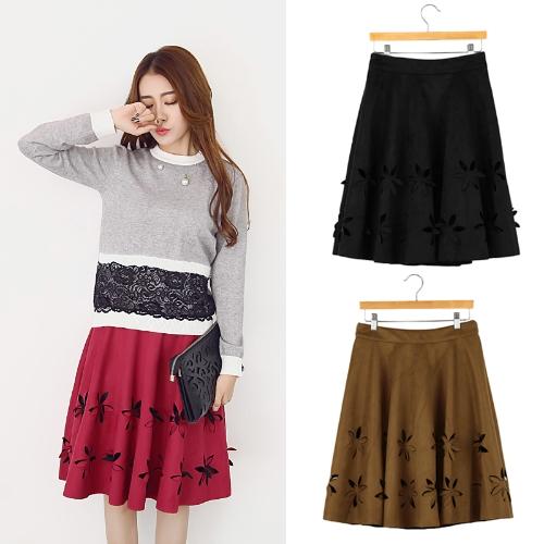 TOMTOP / Nova moda mulheres camurça do falso saia flor oco cintura alta plissada Tutu a linha saia preto/Borgonha/marrom