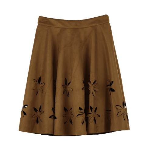 Nuova moda donna pelle scamosciata del Faux gonna cava fiore vita alta pieghettato Abito Tutu gonna Nero/Borgogna/Brown