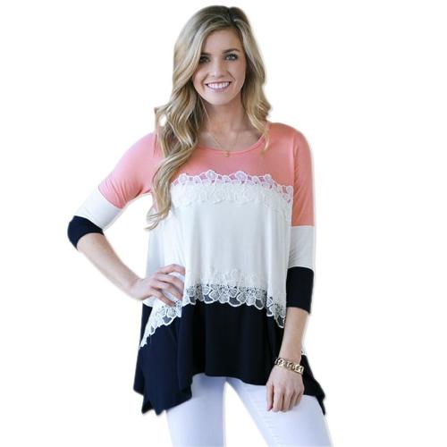 Moda mujer blusa Color bloque encaje Patchwork Irregular dobladillo suelto manga 3/4 camiseta Tops rosa/azul