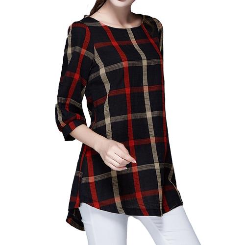 Mode Frauen Damen Bluse Karo Print O Hals 3/4 Sleeve Plus Size lose Jahrgang Freizeithemd Tops rot