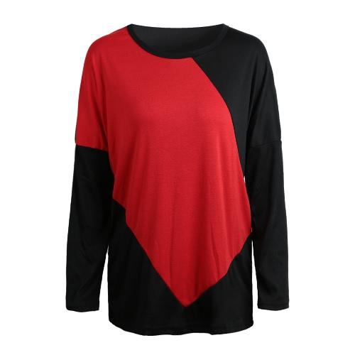Moda donna camicia colore blocco Patchwork manica a pipistrello Casual sciolto top rosso/Beige