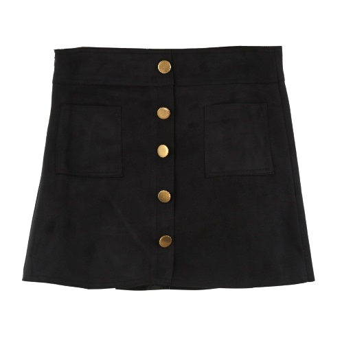 Nueva moda mujer falda gamuza cintura bolsillos cortos solo Breasted forro delgados Culottes