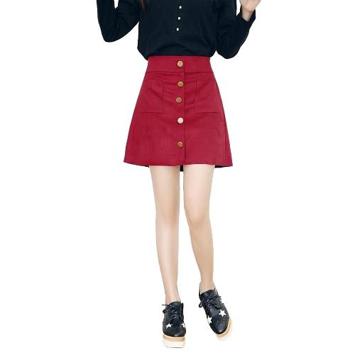 Neue Mode Frauen Rock hohe Taille Faux Wildleder Taschen einzelne Breasted Shorts schlanke Culottes Futter