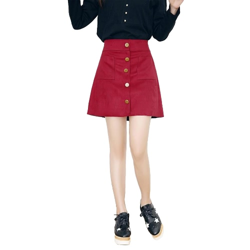 Nova moda mulheres saia camurça do falso cintura alta bolsos único Breasted Shorts forro Culottes magro